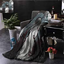 Elxmzwlob Gothic Decor CollectionWeighted BlanketScary Medieval Middle Age Stone Gate with Fog Full Moon and Ivy Dark Night Theme ArtworkBeautiful Fur Throw BlanketGrey Red