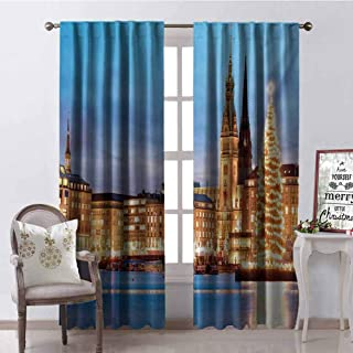 GloriaJohnson Winter Blackout Curtain Hamburg Germany Old Town Hall with Christmas Tree Historical Architecture 2 Panel Sets W42 x L90 Inch Blue Orange Brown