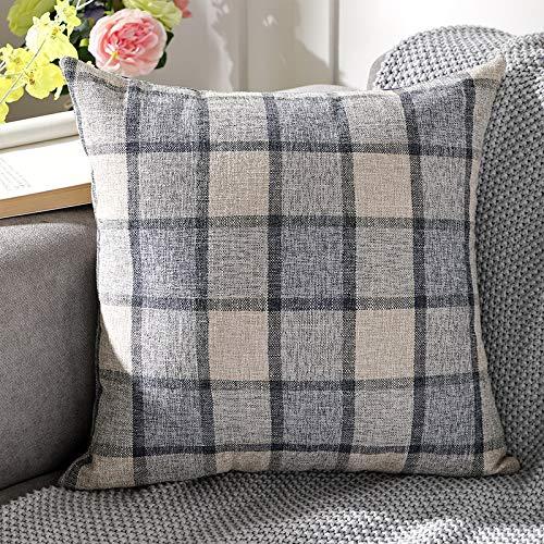 Stafeny Juego de 2 piezas de cojines y fundas de almohada de lino de color liso a cuadros, funda de cojín de sofá de oficina de coche, funda de almohada lumbar cuadrada de 45 cm x 45 cm