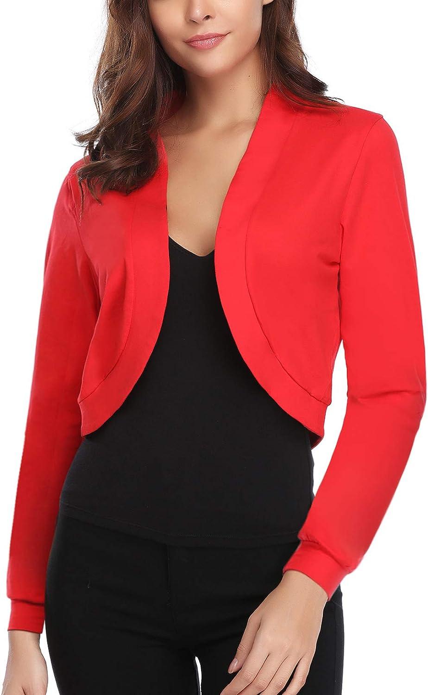 IClosam Women Open Front Cardigan 3 4 Sleeve Long Sleeve Cropped Bolero Shrug