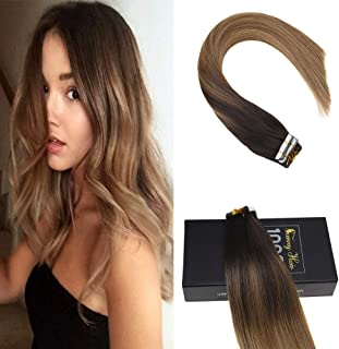 Sunny Hair Ombre Tape Extensions Color Darkest Brown to Chestnut Brown Mix Honey Blonde 16inch Balayage Seamless Tape in Hair Extensions Human Hair 20pcs 50g