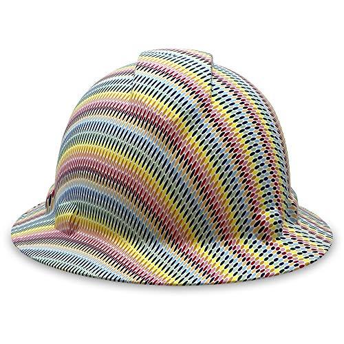 Acerpal - Casco de seguridad para hombre y mujer, con visera completa, con 4 puntos y correa para la barbilla, sombrero duro personalizado, diseño pop de color, calcomanía de...