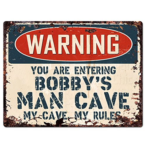 Warning You are Entering Bobby's Man CAVE Chic Sign Retro Vintage Rustic 9'x 12' Metal Plate Store Home Room Wall Decor Gift