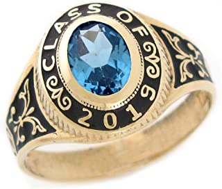 14k Yellow Gold Simulated Birthstone 2019 Class Graduation Ring