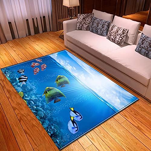 LGXINGLIyidian Alfombra Hermoso Banco De Peces De Delfines Tiburones Submarinos Alfombra Suave Antideslizante De Decoración del Hogar De Impresión 3D M-3401A 120X180Cm