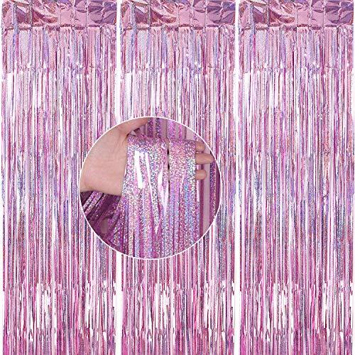 PartyWoo Lametta Vorhänge, 3 Stück Lametta, Lametta Vorhang, Party Deko, Party Hintergrund, Foil Fringe Curtains, Partydeko für Geburtstag, Hochzeit, Party, Baby Shower, JGA (Rosa, 1x2,5m)
