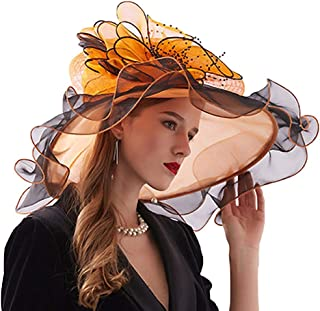 Bigood Womens Sun Hat Flower Organza Wide Brim Church Derby Beach Cap