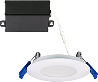 GetInLight Slim Dimmable 3 Inch LED Recessed Lighting, Round Ceiling Panel, Junction Box Included, 4000K(Bright White), 6W, 400lm, White Finished, cETLus Listed, IN-0303-0-WH-40