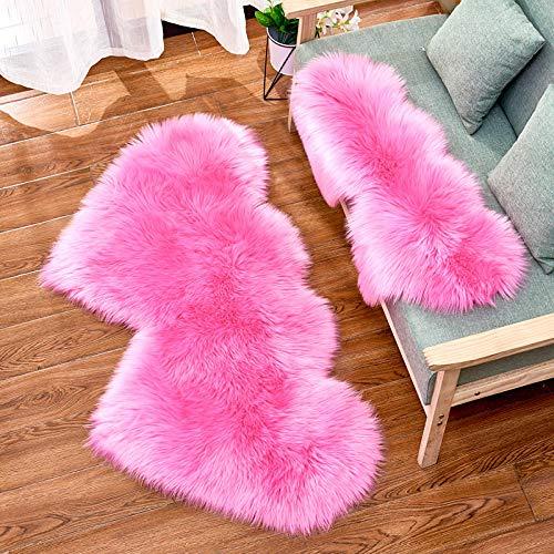 WIONE Faux Peau de Mouton en Laine Tapis Imitation Toison Moquette Fluffy Soft Longhair Décoratif Coussin de Chaise Canapé Natte Rose Rouge Double Coeur 35 * 70cm