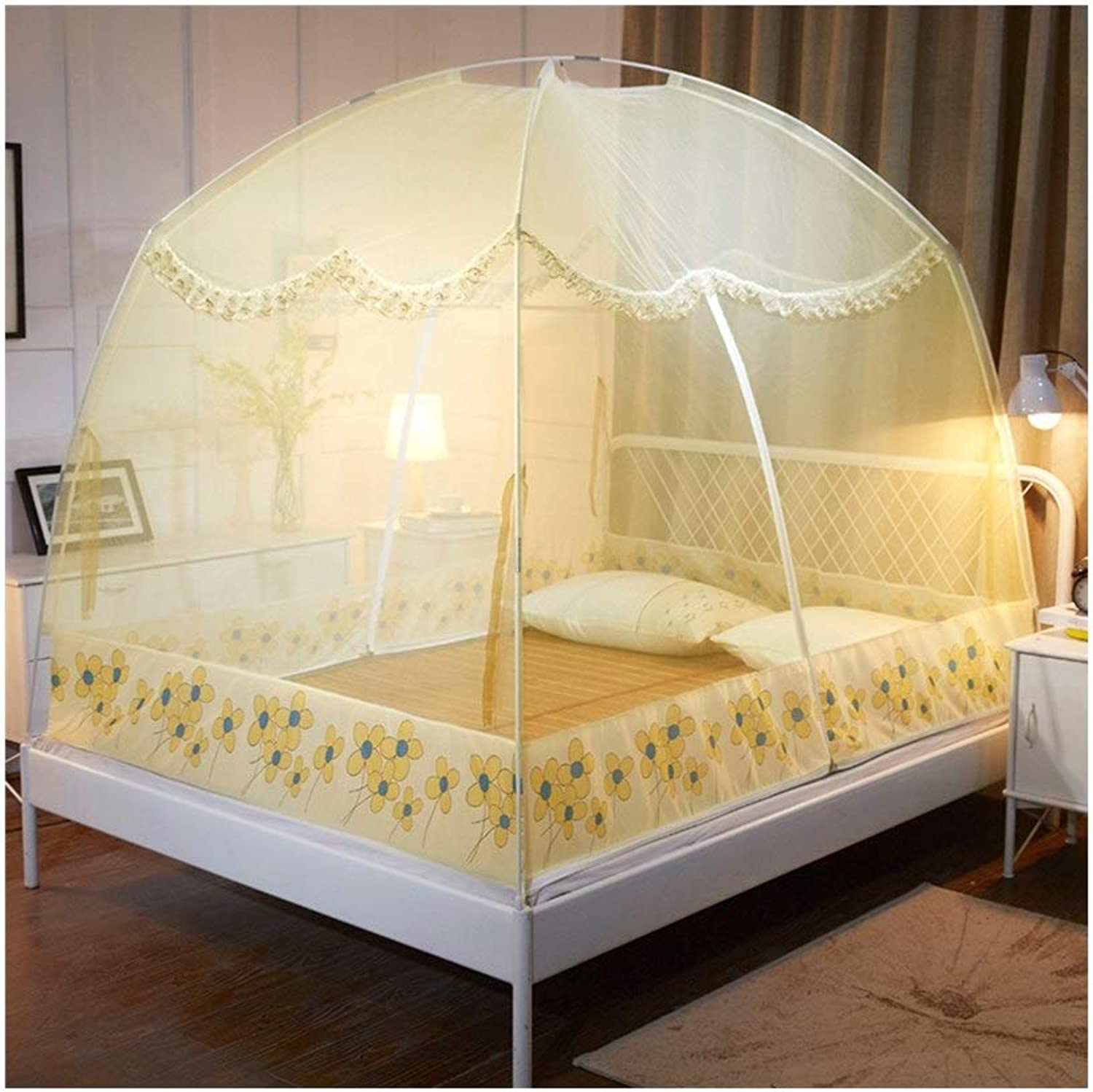 Mongolian yurt Mosquito net Free Inssizetion Double Door Home Tent Bracket encryption Thickening Folding Anti-Fall for 1.5 m Bed 1.8 m Bed (color   Yellow, Size   1.2m Bed)