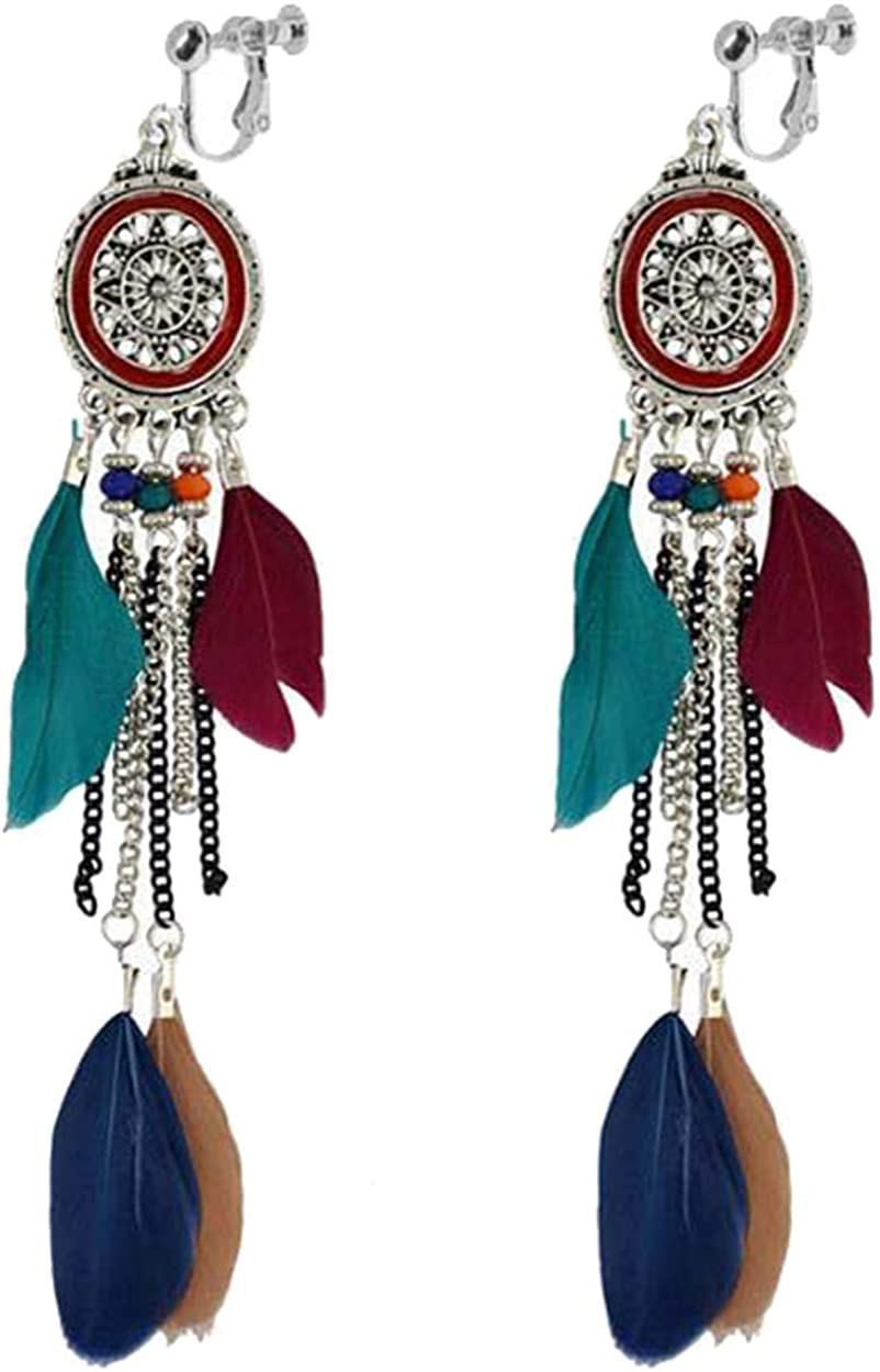 Fashion Multi Colored Feather Clip on Earrings Dream Catcher Dangle Hoops Drop Long Chain Tassel Leaf Non Pierced Ears for Girls Women Party Birthday Gifts