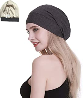 FocusCare Silk Satin Lined Sleep Cap,Inner 19MM 100% Mulberry Silk Outer Bamboo Viscose Nature Breathable for Hair