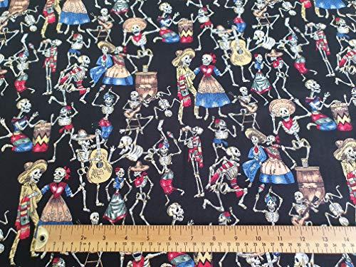 Oddies Textiles Skelett Party Druck Stoff - 100% Baumwolle - Tag der Toten - Bastelstoff Meterware