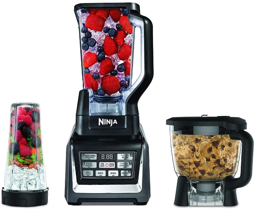 Nutri Ninja Blender Kitchen System with Auto-iQ and Powerful 1200 Watt Motor Base XL 72oz Total Crushing Pitcher and 8-Cup Processor Bowl and One 16 oz. Cup with to-go Lid BL910 (Renewed) (BL910)