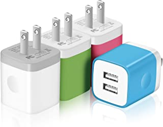 USINFLY USB Wall Charger, 4-Pack 2.1A Dual Port USB Cube Charger Plug Power Adapter Charging Block Compatible with iPhone Xs/XR/Xs Plus/X, 8/7/6 Plus, Samsung, LG, Moto, Android Phones More