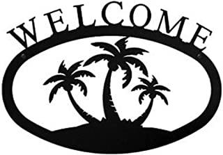 Wrought Iron Large Palm Trees Welcome Sign Lg