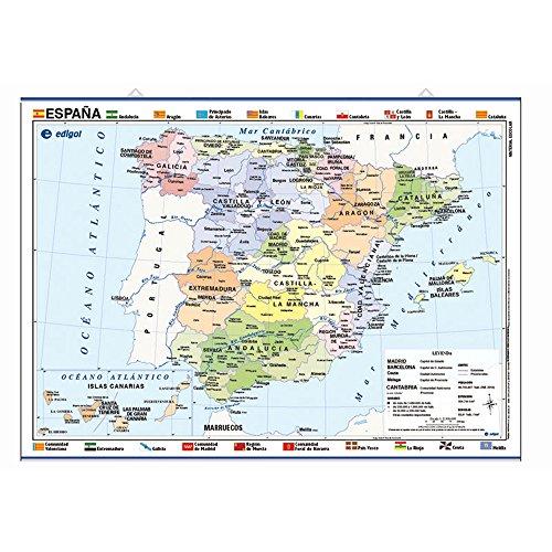 Mapa póster España impreso a doble cara Físico / Político envarillado, con colgadores y tubo 70 x 50 cm