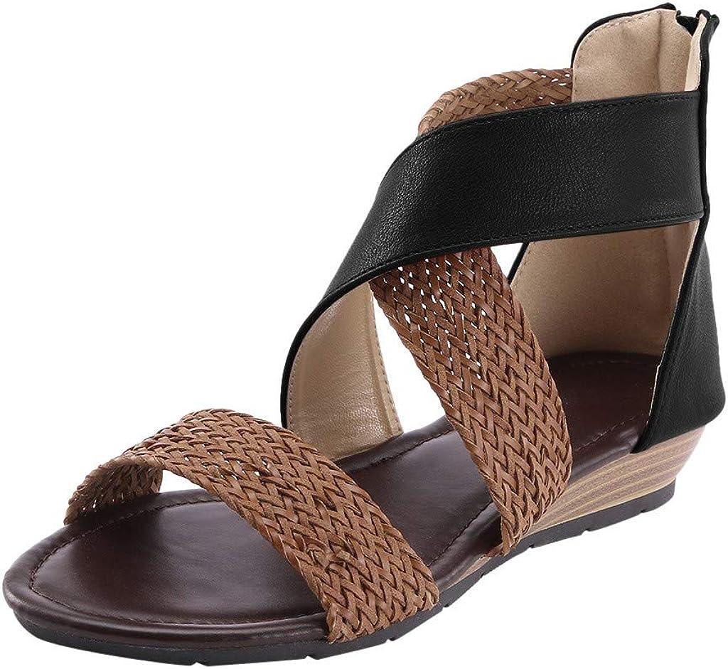 LATINDAY Womens Weave Platform Sandal Low Wedge Zipper Closure Open Toe Slide Sandal Summer Flat Beach Shoes