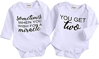 2Pcs Infant Twins Baby Boys Girls Short Sleeve Letter Print Romper Bodysuit Summer Outfit Clothes
