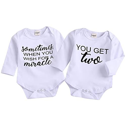 c02f9bf98d6f Mini honey 2Pcs Infant Twins Baby Boys Girls Short Sleeve Letter Print  Romper Bodysuit Summer Outfit