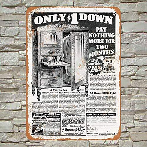 1930 Awesome Furniture for $1 Down Blechschild Metall Plakat Warnschild Retro Eisenblech Plakette Jahrgang Poster Schlafzimmer Familie Wand Aluminium Kunstdekor