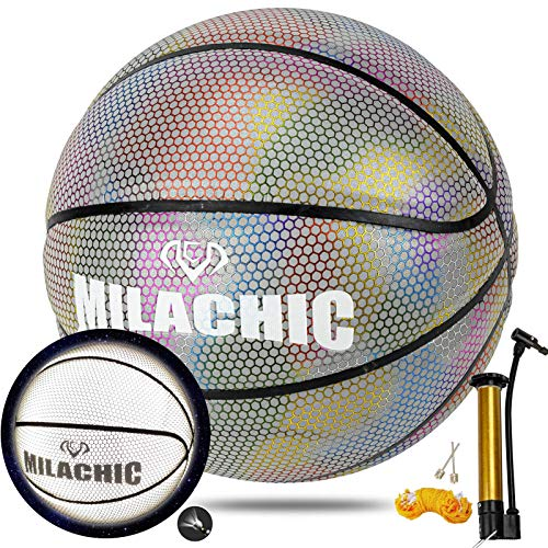 """MILACHIC Basketballs, Holographic Reflective Basketball Indoor Outdoor Leather Basketball Official Size 7/29.5"""", Special Basketball Gifts for Boys, Girls, Men, Women"""
