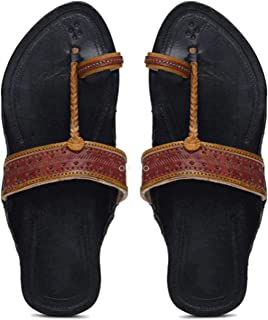 KALAPURI� Ladies Kolhapuri Chappal in Genuine Leather with Black Pointed Shape Base and Red Upper. Handmade in Kolhapur