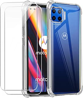 Reshias - Carcasa compatible con Motorola Moto G 5G Plus, silicona TPU suave, transparente, anticaídas con dos protectores...