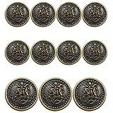 11 Piece Vintage Antique Brass (Bronze) Metal Blazer Button Set - King's Crowned, Vine Crest - for Blazer, Suits, Sport Coat, Uniform, Jacket (Antique Bronze)