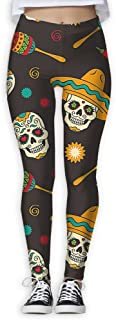 XMKWI Mexican Tribe Skull Womens Power Flex Running Yoga Pants Workout Tights Leggings Trouser