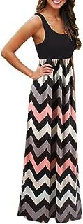 AmyDong Women Dress Striped Long Boho Lady Beach Summer Sundrss Skirt Maxi Dress (3XL, Black)