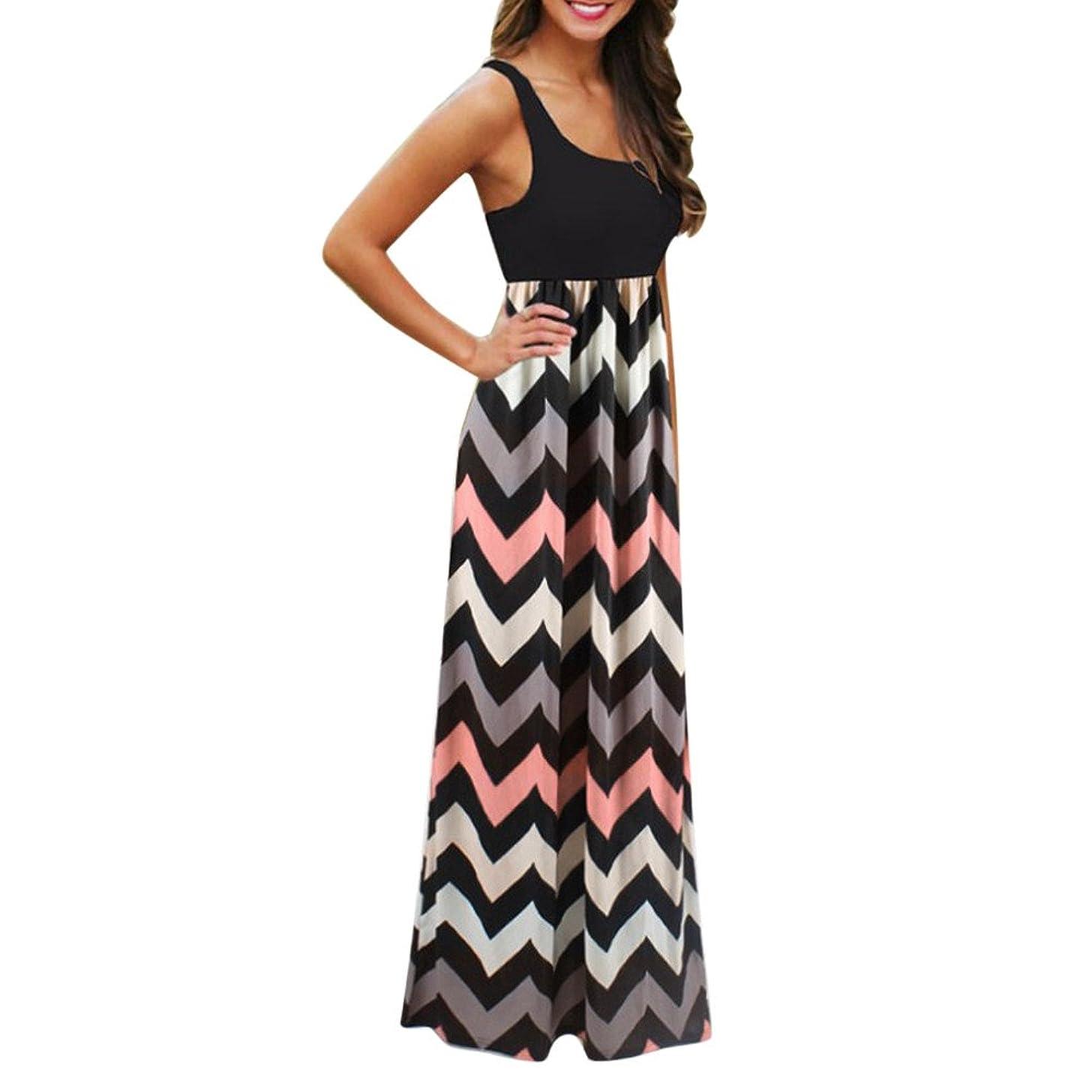Gerichy Women Summer Dress,Womens Casual Dress Sleeveless Wave Striped Scoop Neck Tank Maxi Long Dress