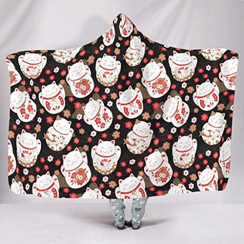 WellWellWell Manta de gato japonés de la suerte con capucha, muy suave, manta con capucha, para adultos y niños, color blanco, 150 x 200 cm
