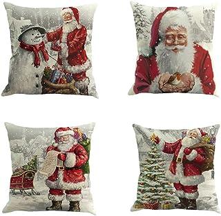 Fossrn 4 Piezas Navidad Fundas Cojines 45x45, Funda de Cojí