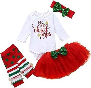 Navidad, Tutu Bebe Niña Conjuntos 4 Piezas Monos de Manga Larga y Tutu y Banda para el Cabello y Calcetines Malla Tuttu Falda de Fiesta Disfraces Bebe