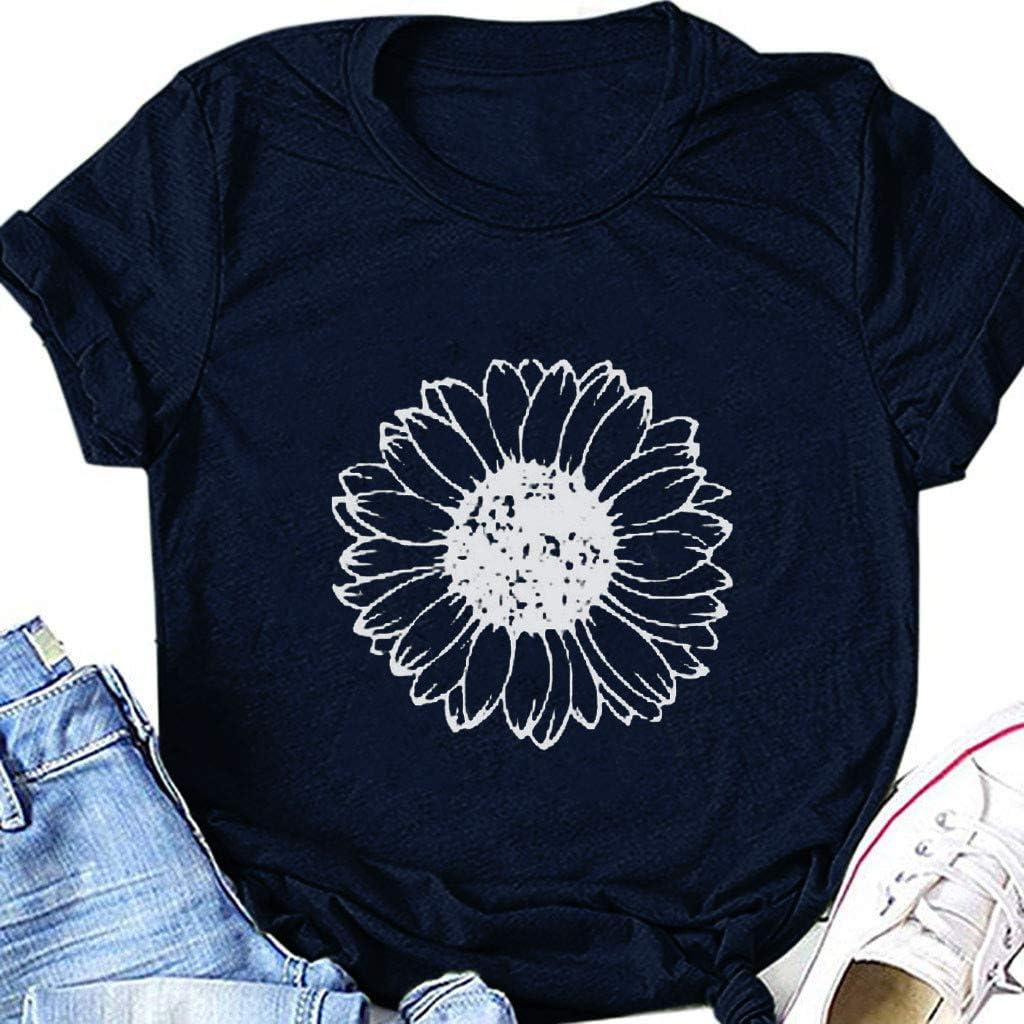 POLLYANNA KEONG Casual Summer Shirts for Women,Women's Short Sleeve V-Neck Shirts Loose Summer Sunflower Tee T-Shirt
