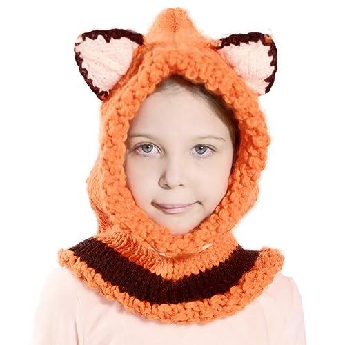 3cd84e11026 Richoose Winter Warm Coif Hood Scarf Caps Hat Earflap Fox Knitted Wool  Shawls Cap Hats for