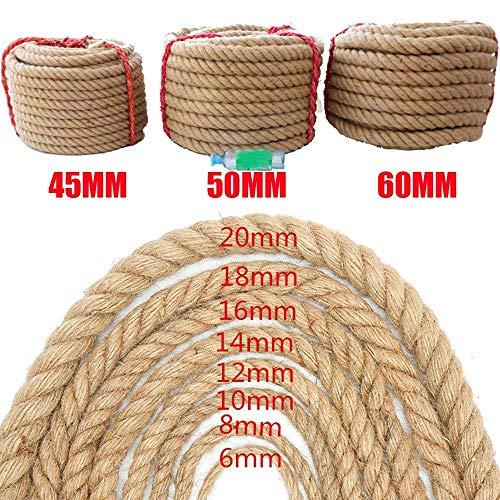 SWB Safety Natürliche 10 Mt Jute Hanfseil Dicke Garten Seil String Kunsthandwerk Schnur Für Geschenk Verpackung Garten Bündelung Dekoration (Size : 20MM/10M)
