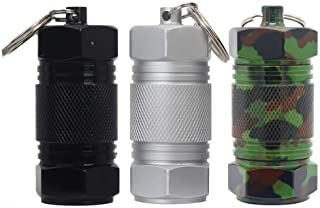 Shintop 3PCS High Capacity Aluminum Container Keychain Waterproof Pill Container (Black+Silver+Camouflage)