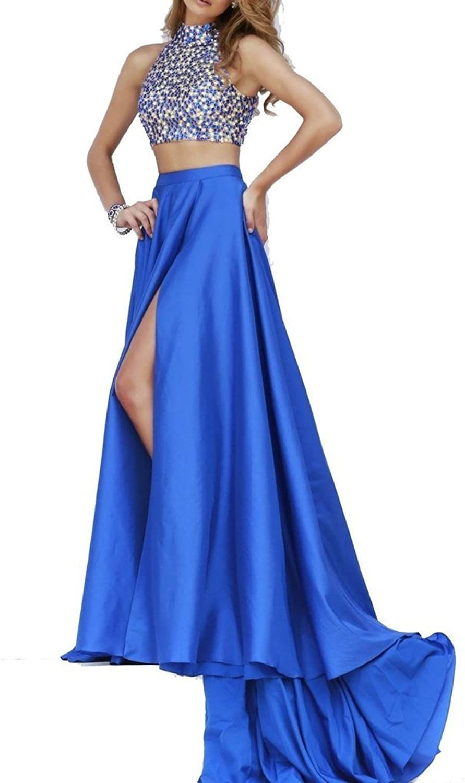 Dearta Women's Two Pieces Long Side Slit Jewel Sweep Train Prom Party Dresses