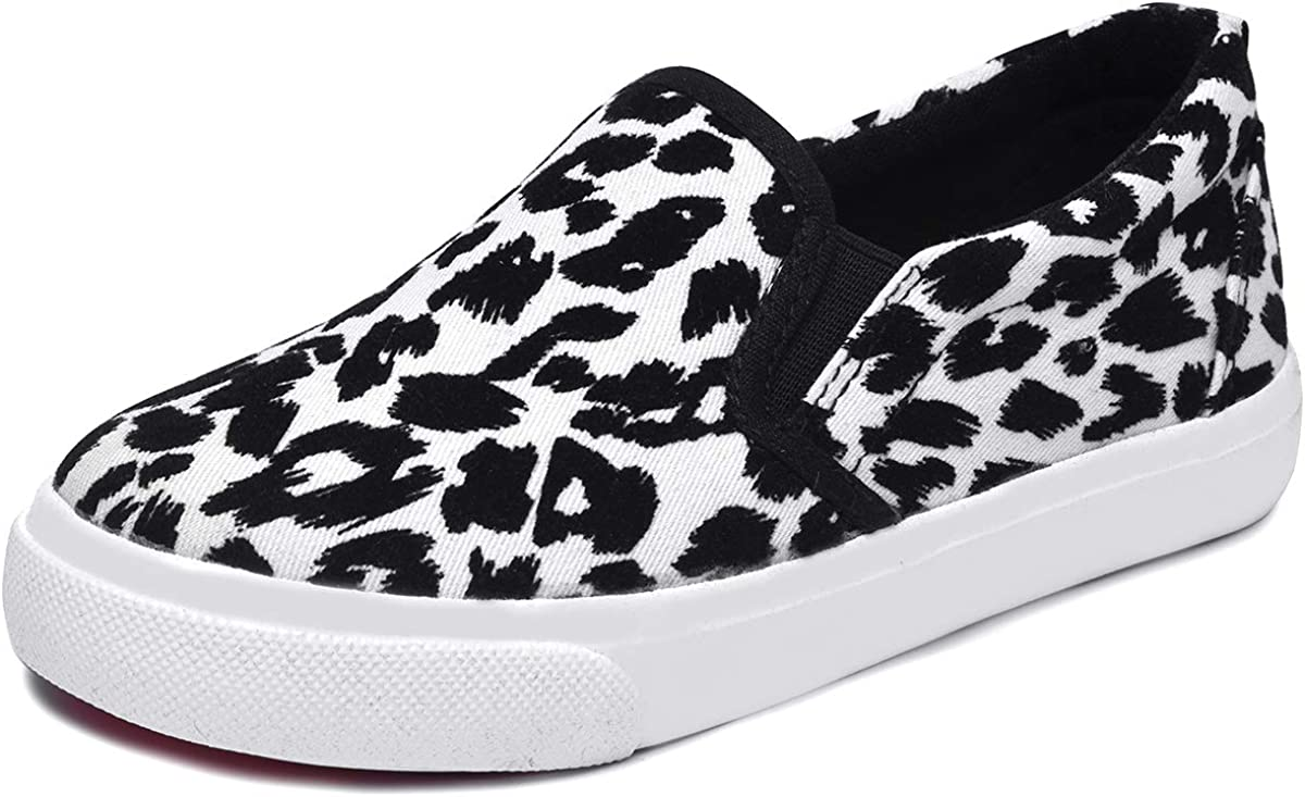 Skeblo Boy's Girl's Leopard Print Canvas Casual Sneakers Cheap mail order shopping Purchase On Slip