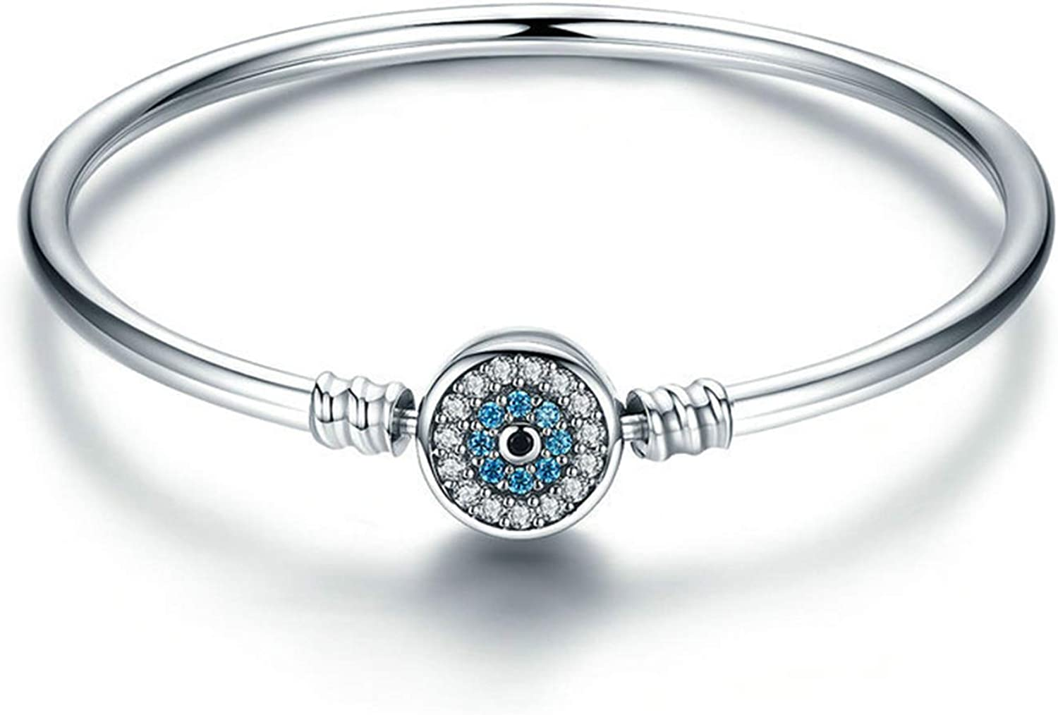 AOFFLY S925 Sterling Silver Charm Bracelets.Simple Z overseas Max 83% OFF Inlaid Blue