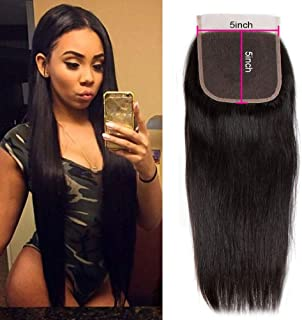 Star Show Hair 5x5 inch Closure Brazilian Straight Hair Lace Closure 1 Piece For Sale Unprocessed Human Hair Closure Natural Color (14 inch 5x5 Free Part Closure)