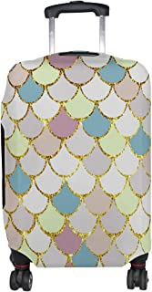 ALAZA Rolling Luggage Cover Macaron Mermaid Scales Marble Fish Light Summer Gold Travel Case Suitcase Bag Protector 18-32 ...
