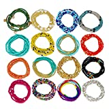 16 Pieces Jewelry Colorful Elastic Beads Waist Chains Kits Summer Beach Layered Belly Beads Body Chains African Bikini Jewelry Chains Rave Fashion Body Accessory for Women and Girls - Style 16