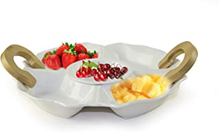 Vagati, Divided Ceramic Fruit Plate With Bamboo Handle, Can Use Salad, Fruit and Dessert Plate, White, WS-31