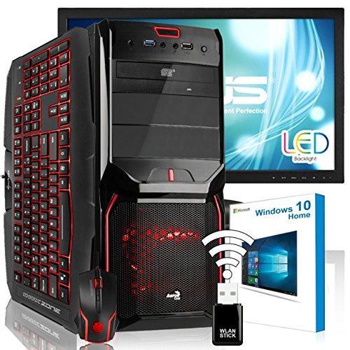 AGANDO Silent Gaming PC-Komplettpaket | Intel Core i5 7600 4x 3.5GHz | Turbo 4.1GHz | AMD Radeon R7 360 2GB | 4GB RAM | 1000GB HDD | DVD-RW | USB3.1 | 55cm (22