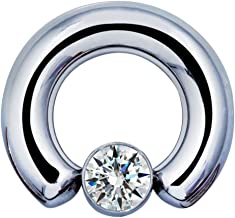 Inspiration Dezigns Large Gauge Captive Bead Ring with Clear Gem