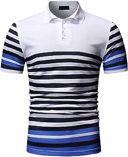 Stoota Men's Fashion Casual Stripe O Neck Pullover Short Sleeve Button T-Shirt Top Blouse