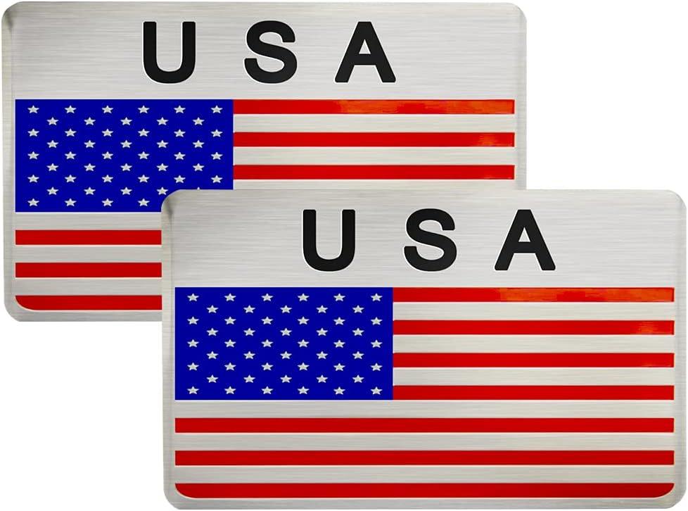 3D Aluminum Alloy American US Flag Decal, 2 PCS 3